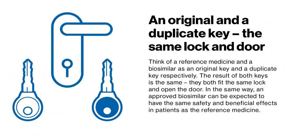 An original and a duplicate key - the same lock and door